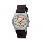 Reloj Wenger Field Classic Chrono dial crema correa nylon/piel oliva