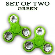 Fidget Spinner - Anti Anxiety Fidget Spinner Helps Focusing Fidget Toys [3D Figit] Premium Quality EDC Focus Toy for Kids & Adults - Best Stress Reducer Relieves Anxiety and Boredom Ceramic Cube Bearing - Green Pack of 2 By ART N SOUL