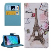 Eiffel Tower Pattern Horizontal Flip Leather Case with Holder & Card Slots & Wallet for Samsung Galaxy J2 / J200
