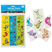 Colorful NEON Monkey PARTY FAVORS Set - 72 Tattoos & 36 STICKER Sheets (4 - 18 Stickers per sheet) K