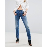 Replay Katewin Girlfriend Jeans with Released Frayed Hem - 009 dark blue (Sizes: W25 L28, W25 L30, W27 L28, W27 L30, W30 L28, W30 L30, W23 L30, W31 L30, W29 L28, W29 L30, W26 L28, W26 L30, W32 L30, W28 L28, W28 L30)