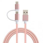 CableCreation [Certificado de Apple MFi] 2-en-1 Rayo para sincronizar los datos cable de carga USB, Micro relámpago USB 2-en-1 cable para el iPhone 6 6S 6plus iPad Mini Aire Samsung y más, de oro rosa de color, 1,2 M / 4 pies