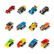 Mini Pull Back Cars 12 Pack Assorted Trucks and Raced Vehicles Car Toy Play Set with Dump Trucks Diggers Bullozers Racing Cars Karting for Kids Boys 12 pieces(Color Vary)