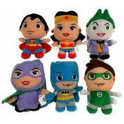 "DC Comics Little Mates 6"" Plush Batman, Superman, Green Lantern, Wonder Woman, Catwoman, Joker Bundle Superhero Collection Itty Bitty Mini Stuffed Animal Super Hero Set"