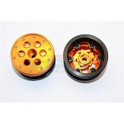 Aluminium+ Plastic Beadlock Weighted Wheels With Weight Holder & Bearings Suitable For All 2.2'' Tires - 1Pr Set Orange