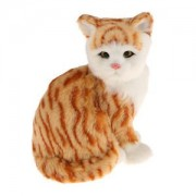 ELECTROPRIME Impish Sitting Ginger Tabby Cat Plush Kid Toy Kitten Pussy Model Desk Decor