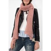 Eșarfă tricotată roz prăfuit