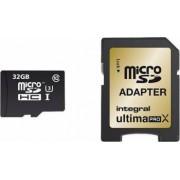 Card Memorie Integral MicroSDHC 32GB Clasa 10 + Adaptor SD inmsdh32g10-95/90u1