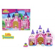 Princess Fantasy Castle Building Bricks Duplo Compatible Set For Girls With 130 Pc Including Princesses, Treasure Chest And Toy Flowers