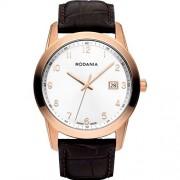 Rodania Celso Herren 40mm Braun Leder Armband Edelstahl Gehäuse Uhr 25104-33