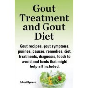 Gout treatment and gout diet. Gout recipes, gout symptoms, purines, causes, remedies, diet, treatments, diagnosis, foods to avoid and foods that might help all included. by Robert Rymore