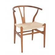 Replica Hans Wegner Wishbone Chair - Light Walnut Frame (grain not visible) Natural seat - Beech Timber