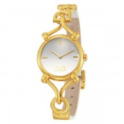 D&G Ladies DW0500 Flock White Dial and White Leather Strap