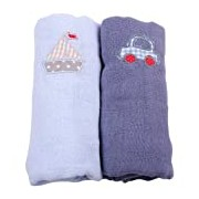 Minene Muslin Squares with A Embroidered Car and Boat (2 Pieces, Blue and Light Blue)