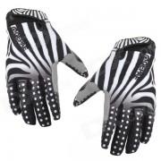 Qepae 7511 Zebra Skin Pattern Cycling Anti-Slip Full-Finger Gloves - Black + White (Size XL)