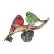 Estátua Pássaros Galho Vermelho e Verde Greenway