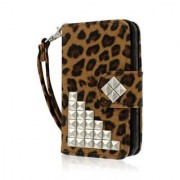 iPhone 4 / 4S Wallet Case MPERO FLEX FLIP Wallet Case for Apple iPhone 4 / 4S - Studded Leopard