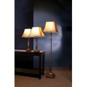 3 Pc. Traditional Brown Finish Table and Floor Lamps with Antique Finish Lamp Shades