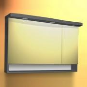 Dulap baie cu oglinda si iluminare Sanotechnik Roma 110, antracit | dreapta