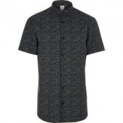River Island Blue floral muscle fit short sleeve shirt
