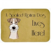Caroline's Treasures Wire Haired Fox Terrier Spoiled Dog Lives Here Kitchen/Bath Mat BB1495CMT / BB1495JCMT