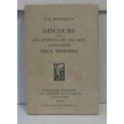 Discours Sur Les Sciences Et Les Arts L'inégalité Deux Mémoires