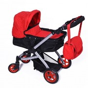 Modern Bassinet Doll Stroller Superior Quality Red Quilted Fabric New Luxury Collection Adjustable Height Free Diaper Bag