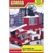 Best-Lock Construction Fire Truck and Station Building Set 80 Pieces