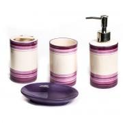 Set de baie cu 4 piese din ceramica, model mov