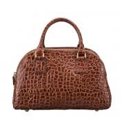 Damen Mock Croc Leder Handtasche in Dunkelbraun - Schultertasche, Umhängetasche, Shopper, Henkeltasche