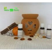 Candelă de aromaterapie și 3x10 ml uleiuri esențiale: Scorțișoară, Portocale dulci și Lămâie