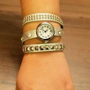 Ceas de mana cu bratara argintie si cristale quartz