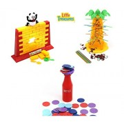 Triple Action 3 in 1 games allows for nonstop fun including Tumbling Monkeys Game Stacking Bottle Contest and the Panda Wall Game