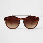 River Island Womens Brown tortoiseshell brow bar round sunglasses