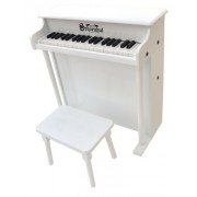 Schoenhut - Piano spinetta giocattolo a 37 tasti, in mogano, colore: bianco