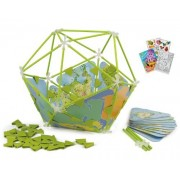 Hape E5528 Bamboo Architetrix Globe 127 Piece Construction Set with Coloring Book