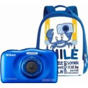 Aparat Foto Compact Nikon Coolpix Wateroproof W100 + Backpack Kit Albastru