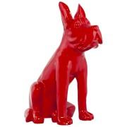 Statue déco 'PUPPY' chien en polyrésine rouge