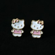 Semi Earring Jewelry Gold Plated Hello Kitty