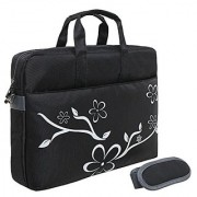 Rusoji 17 Inch Floral Design Laptop Notebook Messenger Shoulder Bag Carrying Case Black