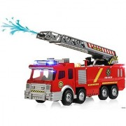 Memtes Electric Fire Truck Toy with Lights and Sirens Sounds Extending Ladder and Water Pump Hose to Shoot Water Bump