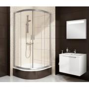 Ravak Blix BLCP4-90 SABINA Négyrészes, negyedköríves alacsonyított zuhanykabin szatén kerettel, grafit edzett biztonsági üveg betéttel
