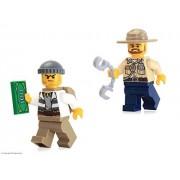 LEGO City MiniFigure Combo: Swamp Police (Crook Male & Officer w/ Dark Tan Hat)