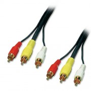 LINDY 35542 - Câble Audio/Vidéo Premium Or - 3 x RCA Phono Cinch - rouge, blanc, jaune - Mâle/Mâle - 3m