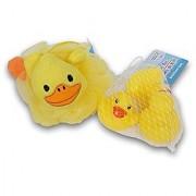 Duck Themed Bath Bundle - Bath Pouf and Mini Rubber Ducks