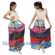 Tie Dye Summer Long Skirt Gypsy style Handmade Barred Design