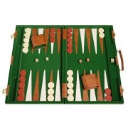 """Deluxe Backgammon Set - Board Game (Green - 18"""" x 12"""") by Middleton Games"""