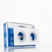 Aro GU10 x2 orientável V-TAC quadrado Branco