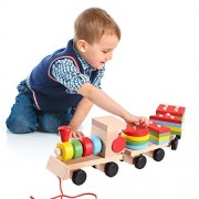 Sealive Puzzles Wooden Big Stacking Train Set Toddler Toy Three Section Wooden Car Sets Block Games Pull Along Shapes Educational Toys