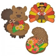 Home Harvest Decor Autumn Fall Decoration Decorations Leaves Autumn Foam Craft Kits Squirrel Turkey Cornucopia BUNDLE OF 3